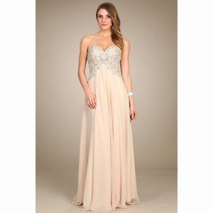 Sweetheart Champagne Flowy Dress